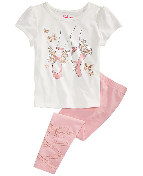Epic Threads Toddler Girls Ballet Slippers T-Shirt & Leggings, Created for Macy's