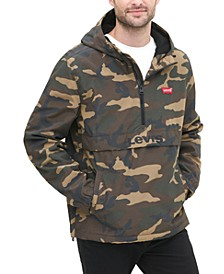 Men's Water-Resistant Camouflage Hooded Popover Jacket