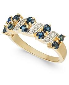 Sapphire (1 ct. t.w.) & Diamond (1/8 ct. t.w.) Ring in 14k Gold