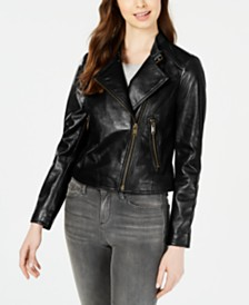 Marc New York Cropped Leather Moto Jacket
