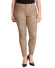 Jessica Simpson Trendy Plus Size Kiss Me Animal-Print Super Skinny Jeans
