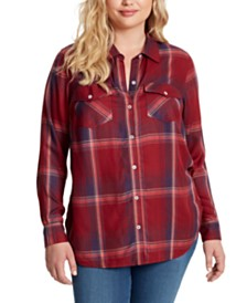Jessica Simpson Petunia Plus Size Plaid Button-Up Shirt