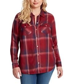 Jessica Simpson Petunia Plus Size Plaid Button-Up Shirt