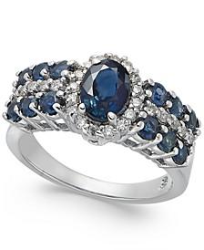 Sapphire (2-1/5 ct. t.w.) & Diamond (1/4 ct. t.w.) Ring in 14k White Gold