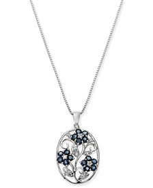 "Sapphire (1-1/2 ct. t.w.) & Diamond (1/10 ct. t.w.) Oval 18"" Pendant Necklace in Sterling Silver"