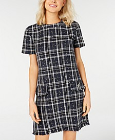 Juniors' Metallic-Plaid Shift Dress