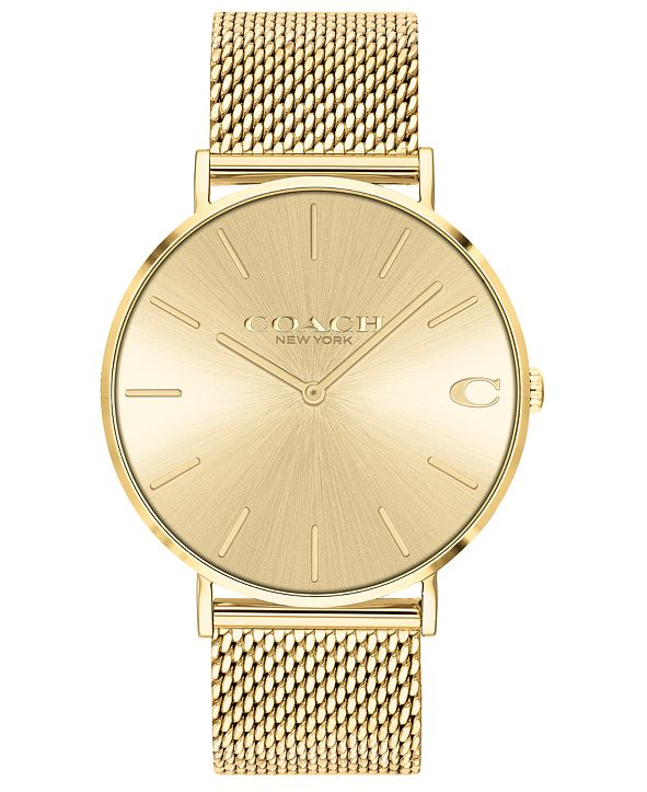 COACH Men's Charles Gold-Tone Stainless Steel Mesh Bracelet Watch 41mm