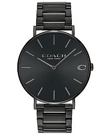COACH Men's Charles Black Stainless Steel Bracelet Watch 41mm