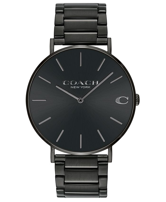 COACH - Men's Charles Black Stainless Steel Bracelet Watch 41mm