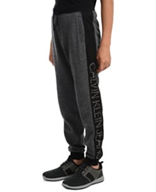 Calvin Klein Jeans Big Boys Colorblocked Mesh Logo-Panel Fleece Joggers