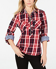 Cotton Plaid Zip Shirt