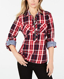 Tommy Hilfiger Cotton Plaid Zip Shirt