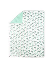 Mint Cactus Print Blanket
