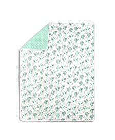The Peanutshell Mint Cactus Print Blanket