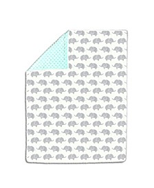 Mint & Grey Elephants Pompom Blanket