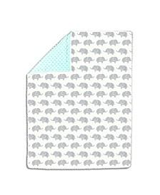 The Peanutshell Mint & Grey Elephants Pompom Blanket