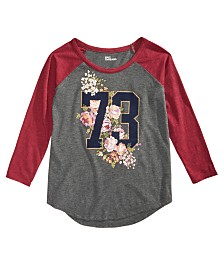 Epic Threads Big Girls Graphic-Print Raglan T-Shirt, Created for Macy's