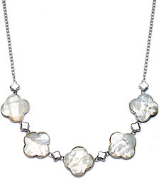 Sterling Silver Necklace, Mother of Pearl Clover Frontal Necklace