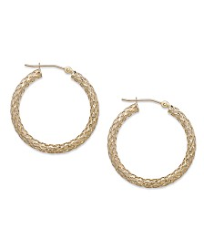 14k Gold Earrings, Diamond Cut Hoop Earrings, 1 1/3 inch