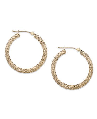14k Gold Earrings, Diamond Cut Pierced Hoop Earrings