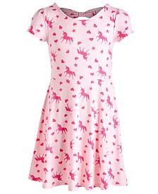 Big Girls Big Girls Bow Back Unicorn-Print Dress, Created for Macy's