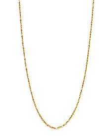 "18K Gold over Sterling Silver Necklace, 20"" Small Twist Chain Necklace"