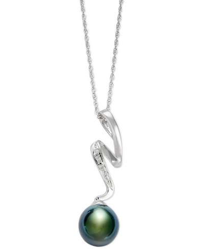 Cultured Tahitian Pearl (8mm) and Diamond Accent Pendant Necklace in Sterling Silver