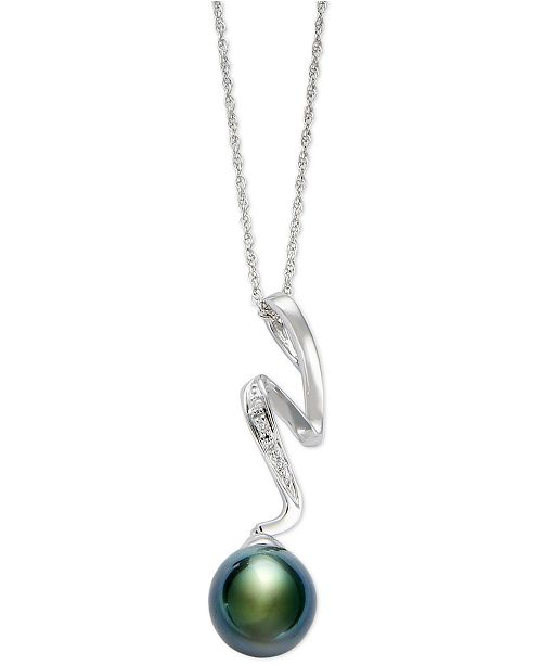 Macy's Cultured Tahitian Pearl (8mm) and Diamond Accent Pendant Necklace in Sterling Silver