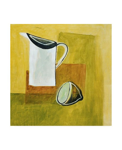 "Trademark Global Pablo Esteban Pitcher on Yellow Canvas Art - 36.5"" x 48"""
