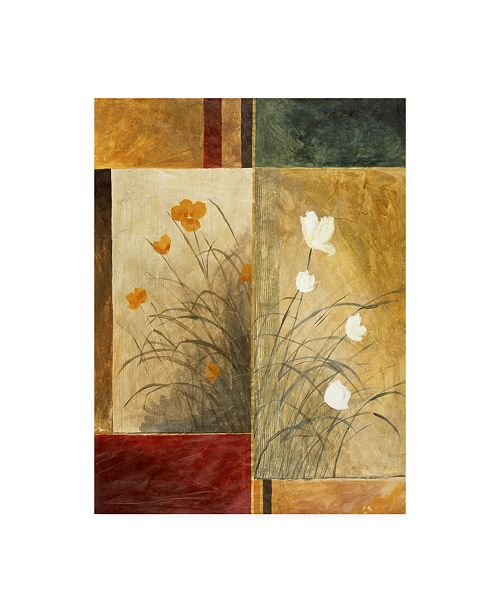 "Trademark Global Pablo Esteban White and Yellow Flowers Canvas Art - 15.5"" x 21"""