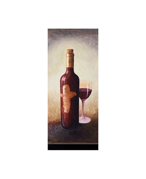 """Trademark Global Pablo Esteban A Bottle of Wine with Glass Canvas Art - 36.5"""" x 48"""""""