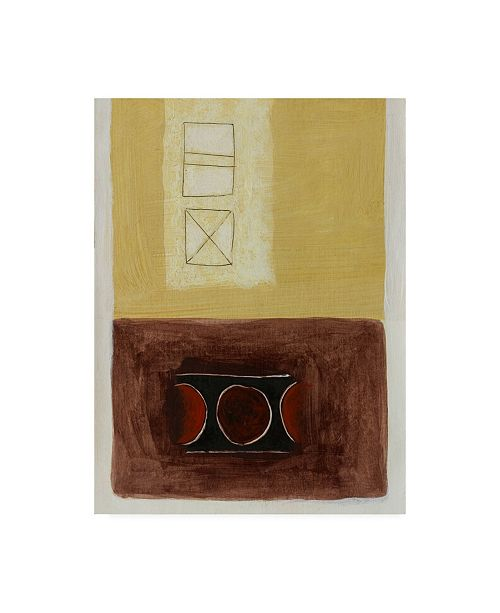 """Trademark Global Pablo Esteban Yellow and Brown with Squares Canvas Art - 27"""" x 33.5"""""""