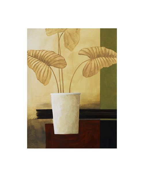 "Trademark Global Pablo Esteban White Vase with Large Leaves Canvas Art - 15.5"" x 21"""