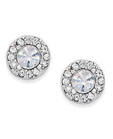 Silver-Tone Clear Circle Stud Earrings