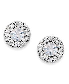 Charter Club Silver-Tone Clear Circle Stud Earrings