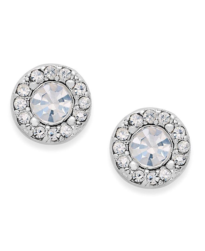 Charter Club - Silver-Tone Clear Circle Stud Earrings