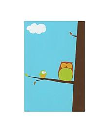"June Erica Vess Tree top Owls II Childrens Art Canvas Art - 36.5"" x 48"""