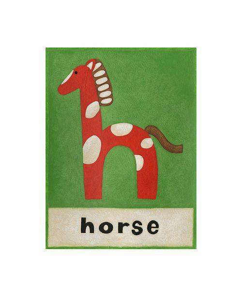 "Trademark Global Chariklia Zarris H is for Horse Childrens Art Canvas Art - 19.5"" x 26"""