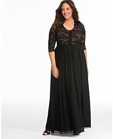 6add44668 Kiyonna Women's Plus Size Jasmine Lace Evening Gown