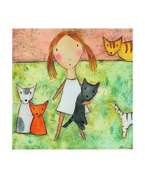 "Trademark Global Carla Sonheim Girl with Cats Canvas Art - 15.5"" x 21"""