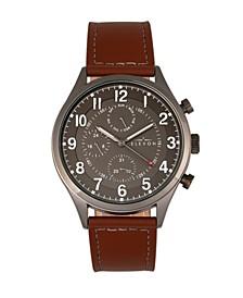 Men's Lindbergh Genuine Leather Strap Watch 45mm