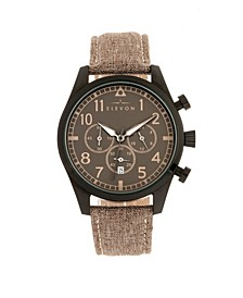 Men's Curtiss Chronograph Genuine Leather Strap Watch 46mm