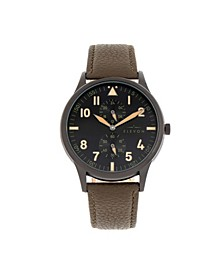 Men's Turbine Genuine Leather Strap Watch 45mm