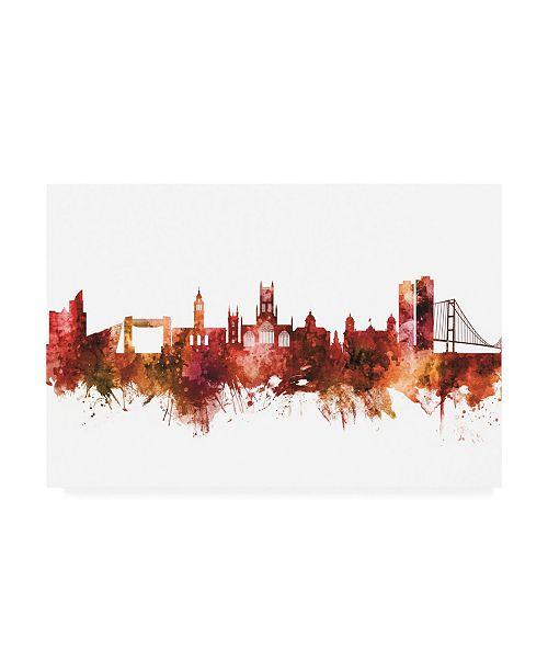 "Trademark Global Michael Tompsett Kingston upon Hull England Skyline Red Canvas Art - 36.5"" x 48"""