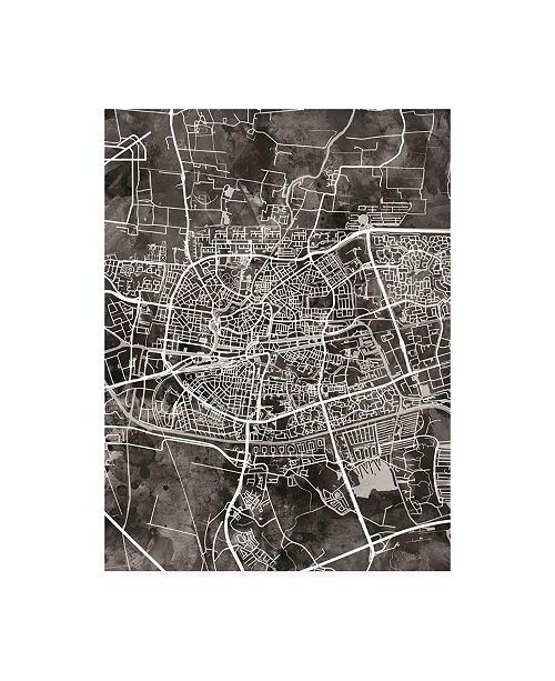"""Trademark Global Michael Tompsett Leeuwarden Netherlands City Map Black Canvas Art - 36.5"""" x 48"""""""