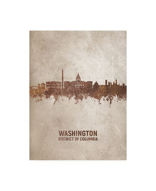 "Trademark Global Michael Tompsett Washington DC Rust Skyline Canvas Art - 19.5"" x 26"""