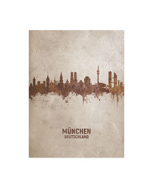 "Trademark Global Michael Tompsett Munich Germany Rust Skyline Canvas Art - 19.5"" x 26"""