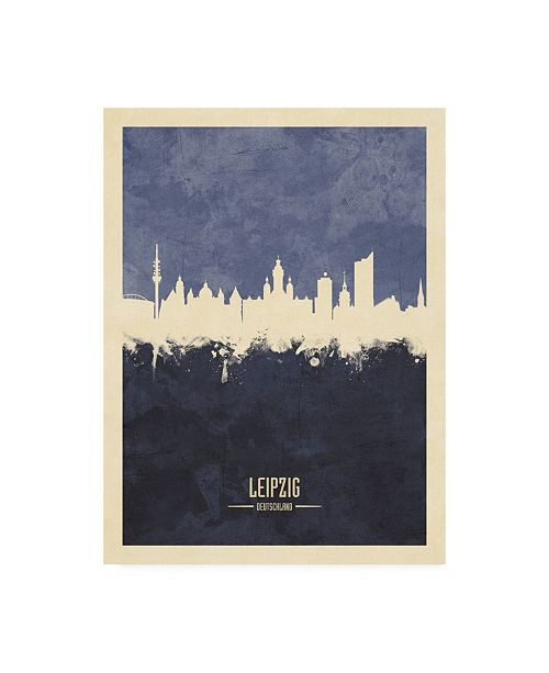 "Trademark Global Michael Tompsett Leipzig Germany Skyline Navy Canvas Art - 36.5"" x 48"""
