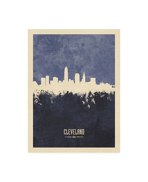 "Trademark Global Michael Tompsett Cleveland Ohio Skyline Navy Canvas Art - 19.5"" x 26"""