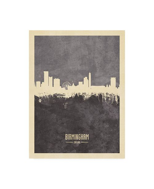 "Trademark Global Michael Tompsett Birmingham England Skyline Gray Canvas Art - 19.5"" x 26"""